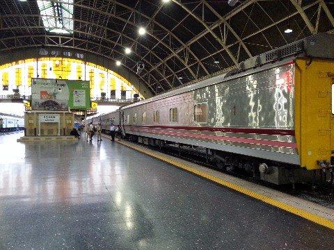 Train on the platform in Bangkok Hua Lamphong Railway Station