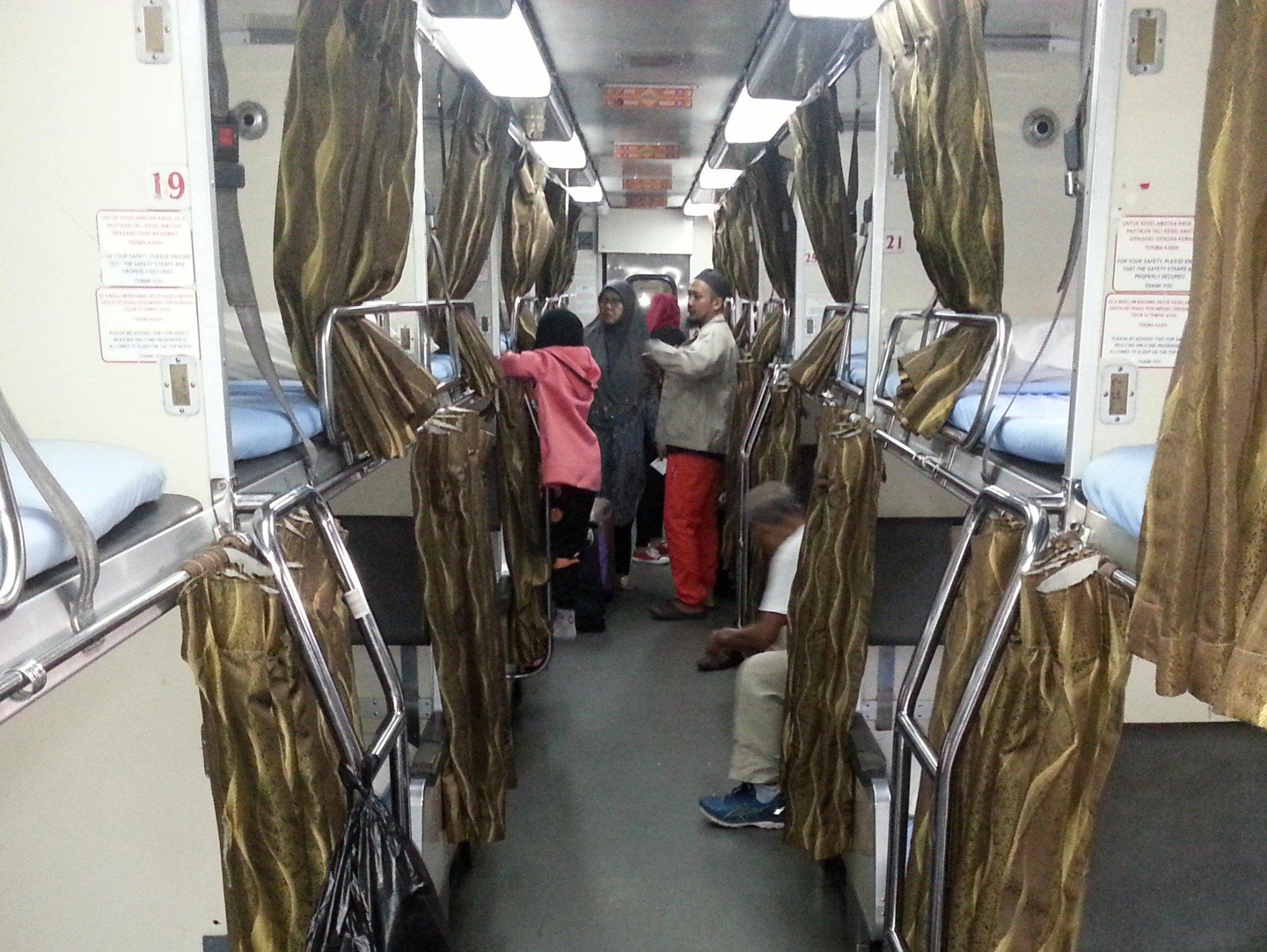 Sleeper carriage on the Ekspress Rakyat Timuran