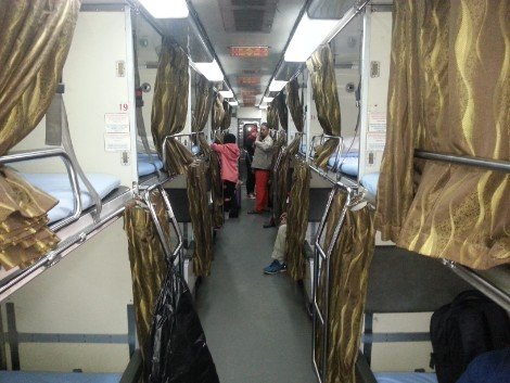 Inside the sleeper carriage on the Ekspress Rakyat Timuran