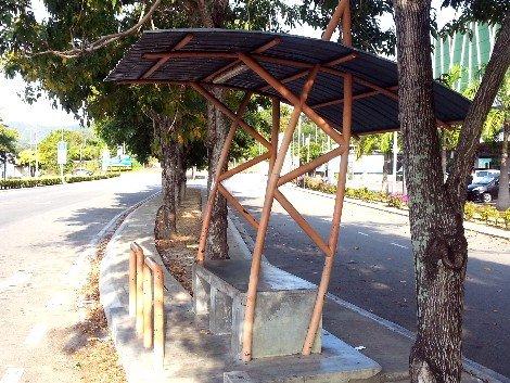 Bus stop to Melaka near Pulau Sebang/Tampin Railway Station