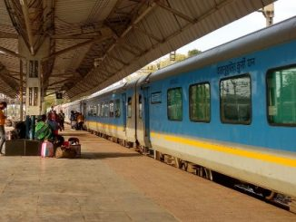 Indian train arriving at Agra