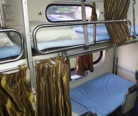 Sleeper berths on the train to Kota Bharu